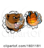 Bear Sports Mascot Breaking Through A Wall With A Basketball In A Paw