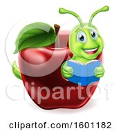 Cartoon Happy Green Book Worm Reading In A Red Apple