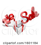 3d Sale Text Springing Out Of A Gift Box