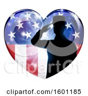 Silhouetted Military Veteran Or Soldier Saluting In An American Themed Flag Heart