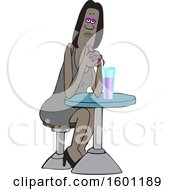 Clipart Of A Cartoon Black Woman Sitting With A Cocktail At A Table Royalty Free Vector Illustration