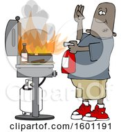 Cartoon Black Man Using A Fire Extinguisher To Put Out Flaming Meat Patties On A Bbq Grill