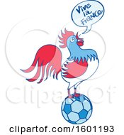 Clipart Of A French Rooster Crowing Vive La France And Standing On A Football Royalty Free Vector Illustration