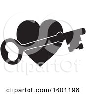 Clipart Of A Black And White Heart With A Skeleton Key Royalty Free Vector Illustration by Johnny Sajem