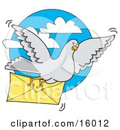 Gray Pigeon Carrying A Letter In An Envelope Clipart Illustration
