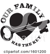 Poster, Art Print Of Black And White Skeleton Key Over A Heart With Our Family Has The Key Text