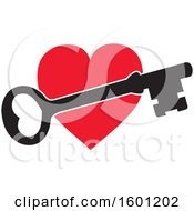 Clipart Of A Red Heart With A Skeleton Key Royalty Free Vector Illustration by Johnny Sajem