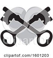 Poster, Art Print Of Gray Heart With Crossed Skeleton Keys