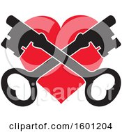 Clipart Of A Red Heart With Crossed Skeleton Keys Royalty Free Vector Illustration by Johnny Sajem