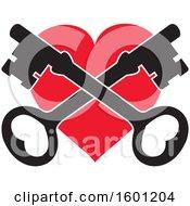 Red Heart With Crossed Skeleton Keys