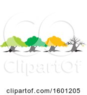 Clipart Of A Row Of Four Seasons Trees For Spring Summer Fall And Winter Royalty Free Vector Illustration