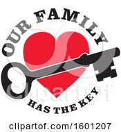 Poster, Art Print Of Skeleton Key Over A Red Heart With Our Family Has The Key Text