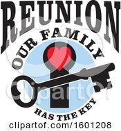 Clipart Of A Skeleton Key Over A Red Heart Key Hole With Reunion Our Family Has The Key Text Royalty Free Vector Illustration