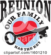 Poster, Art Print Of Skeleton Key Over A Heart With Reunion Our Family Has The Key Text