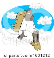 Poster, Art Print Of Cartoon Black Male Angel Sitting On The Clouds Of Heaven