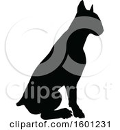 Clipart Of A Silhouetted Sitting Bull Terrier Dog Royalty Free Vector Illustration