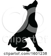 Clipart Of A Silhouetted Dobermann Dog Royalty Free Vector Illustration