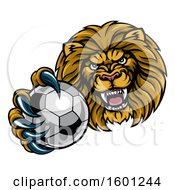Tough Lion Monster Mascot Holding Out A Soccer Ball In One Clawed Paw