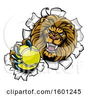 Tough Lion Sports Mascot Holding Out A Tennis Ball And Breaking Through A Wall