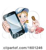 Poster, Art Print Of Happy White Female Plumber Holding A Plunger And Cell Phone Over A Sign