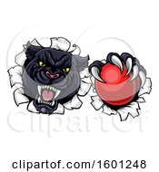 Clipart Of A Black Panther Mascot Breaking Through A Wall With A Cricket Ball Royalty Free Vector Illustration by AtStockIllustration