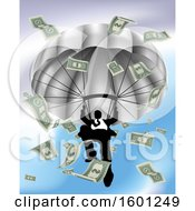 Clipart Of A Silhouetted Business Man Parachuting With Cash Money Royalty Free Vector Illustration