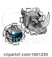 Tough Rhino Monster Mascot Holding A Bowling Ball In One Clawed Paw And Breaking Through A Wall