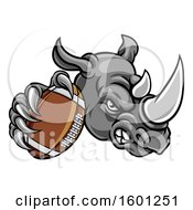 Clipart Of A Tough Rhino Monster Mascot Holding Out An American Football In One Clawed Paw Royalty Free Vector Illustration by AtStockIllustration