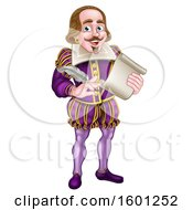 Clipart Of William Shakespeare Holding A Scroll And Feather Quill Royalty Free Vector Illustration