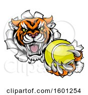 Vicious Tiger Mascot Breaking Through A Wall With A Tennis Ball
