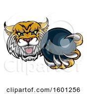 Clipart Of A Tough Bobcat Lynx Monster Mascot Holding Out A Bowling Ball In One Clawed Paw Royalty Free Vector Illustration by AtStockIllustration