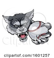 Poster, Art Print Of Tough Wolf Monster Mascot Holding Out A Baseball In One Clawed Paw
