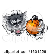 Tough Wolf Monster Mascot Holding Out A Basketball In One Clawed Paw And Breaking Through A Wall