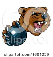 Mad Grizzly Bear Mascot Holding Out A Bowling Ball In A Clawed Paw