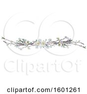 Clipart Of A Border Of White Spring Blossoms Royalty Free Vector Illustration