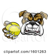 Tough Bulldog Monster Mascot Holding Out A Tennis Ball In One Clawed Paw