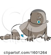 Poster, Art Print Of Cartoon Black Baby Boy Crawling