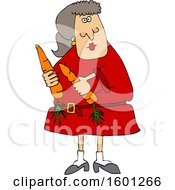 Clipart Of A Cartoon Woman Holding Carrots Royalty Free Vector Illustration