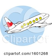 Clipart Of A Cartoon Airplane With Happy Faces Over A Blue Circle Royalty Free Vector Illustration