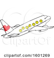 Clipart Of A Cartoon Airplane With Happy Faces Royalty Free Vector Illustration