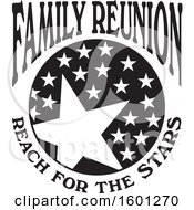 Clipart Of A Black And White Family Reunion Reach For The Stars Design Royalty Free Vector Illustration