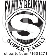 Clipart Of A Black And White Family Reunion Super Family S Shield Design Royalty Free Vector Illustration