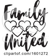 Clipart Of A Black And White Family United Design With Connected Hearts Royalty Free Vector Illustration