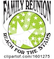 Clipart Of A Green Black And White Family Reunion Reach For The Stars Design Royalty Free Vector Illustration