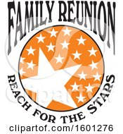 Clipart Of A Black Orange And White Family Reunion Reach For The Stars Design Royalty Free Vector Illustration