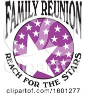 Clipart Of A Purple Black And White Family Reunion Reach For The Stars Design Royalty Free Vector Illustration