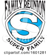 Clipart Of A Blue Black And White Family Reunion Super Family S Shield Design Royalty Free Vector Illustration