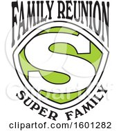Clipart Of A Green Black And White Family Reunion Super Family S Shield Design Royalty Free Vector Illustration