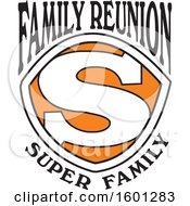 Clipart Of A Black Orange And White Family Reunion Super Family S Shield Design Royalty Free Vector Illustration