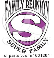 Clipart Of A Purple Black And White Family Reunion Super Family S Shield Design Royalty Free Vector Illustration
